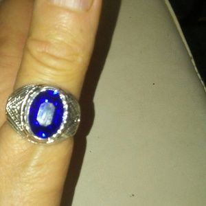 "Men""s Blue Saphire CZ Sterling Silver Ring"